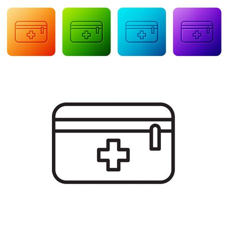 Black line First aid kit icon isolated on white background. Medical box with cross. Medical equipment for emergency. Healthcare concept. Set icons in color square buttons. Vector Illustration Ilustracja