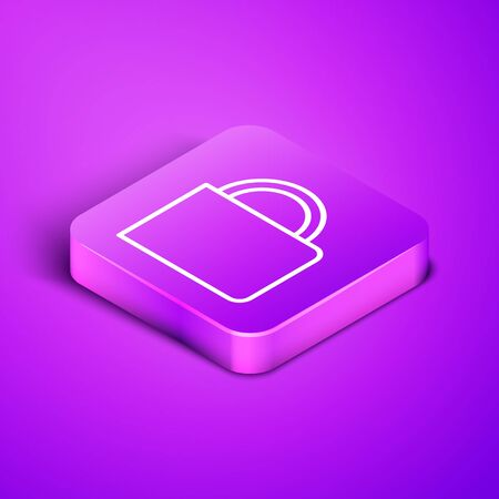 Isometric line Coffee cup icon isolated on purple background. Tea cup. Hot drink coffee. Purple square button. Vector Illustration