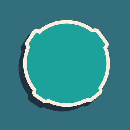 Green Moon icon isolated on green background. Long shadow style. Vector Illustration