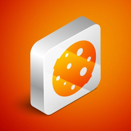 Isometric Moon icon isolated on orange background. Silver square button. Vector Illustration