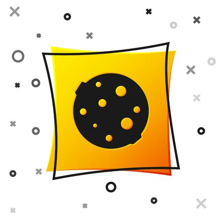 Black Moon icon isolated on white background. Yellow square button. Vector Illustration 向量圖像