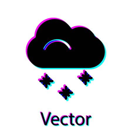 Black Cloud with snow icon isolated on white background. Cloud with snowflakes. Single weather icon. Snowing sign. Vector Illustration