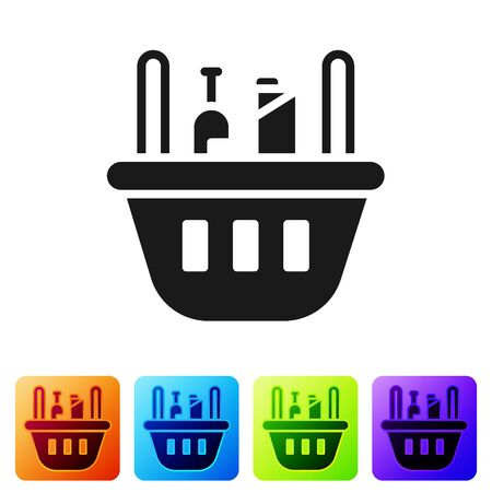 Black Shopping basket and food icon isolated on white background. Food store, supermarket. Set icons in color square buttons. Vector Illustration
