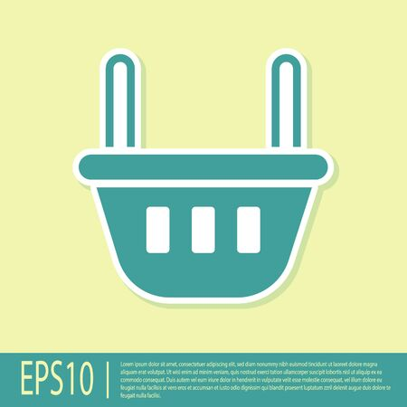 Green Shopping basket icon isolated on yellow background. Food store, supermarket. Vector Illustration