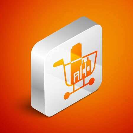Isometric Shopping cart and food icon isolated on orange background. Food store, supermarket. Silver square button. Vector Illustration Иллюстрация