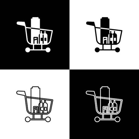 Set Shopping cart and food icon isolated on black and white background. Food store, supermarket. Vector Illustration