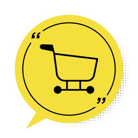 Black Shopping cart icon isolated on white background. Food store, supermarket. Yellow speech bubble symbol. Vector Illustration