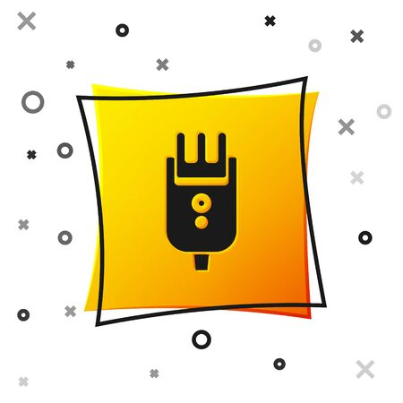 Black Electrical hair clipper or shaver icon isolated on white background. Barbershop symbol. Yellow square button. Vector Illustration