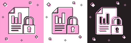 Set Document and lock icon isolated on pink and white, black background. File format and padlock. Security, safety, protection concept.  Vector Illustration