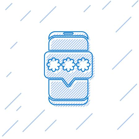 Blue line Mobile and password protection icon isolated on white background. Security, safety, personal access, user authorization, privacy. Vector Illustration