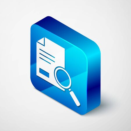 Isometric Document with search icon isolated on grey background. File and magnifying glass icon. Analytics research sign. Blue square button. Vector Illustration