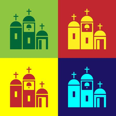 Pop art Church building icon isolated on color background. Christian Church. Religion of church. Vector Illustration Illustration