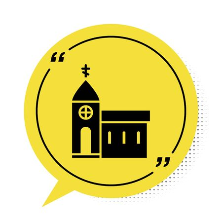 Black Church building icon isolated on white background. Christian Church. Religion of church. Yellow speech bubble symbol. Vector Illustration