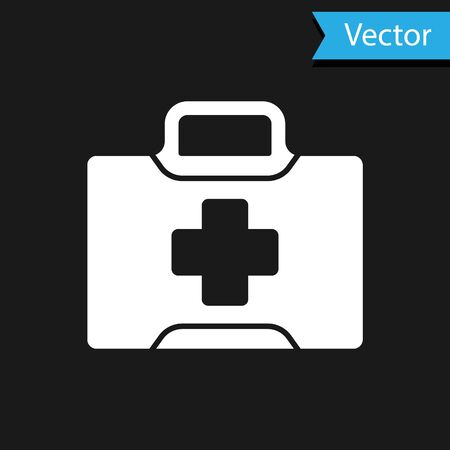 White First aid kit icon isolated on black background. Medical box with cross. Medical equipment for emergency. Healthcare concept. Vector Illustration