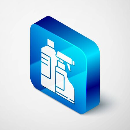 Isometric Plastic bottles for laundry detergent, bleach, dishwashing liquid or another cleaning agent icon isolated on grey background. Blue square button. Vector Illustration