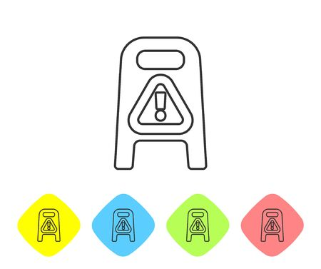 Grey line Wet floor and cleaning in progress icon isolated on white background. Cleaning service concept. Set icons in color rhombus buttons. Vector Illustration