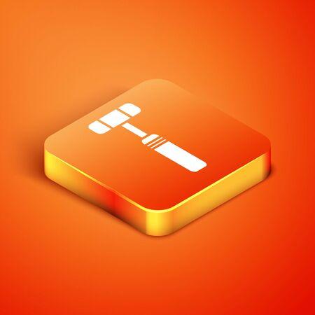 Isometric Neurology reflex hammer icon isolated on orange background. Vector Illustration
