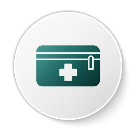 Green First aid kit icon isolated on white background. Medical box with cross. Medical equipment for emergency. Healthcare concept. White circle button. Vector Illustration