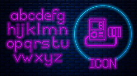 Glowing neon Blood pressure icon isolated on brick wall background. Neon light alphabet. Vector Illustration