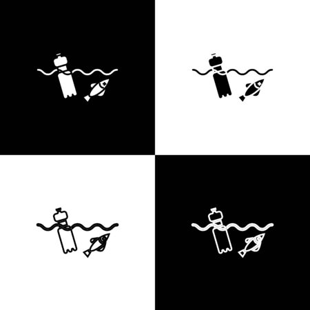 Set The problem of pollution of the ocean icon isolated on black and white background. The garbage, plastic, bags on the sea. Vector Illustration
