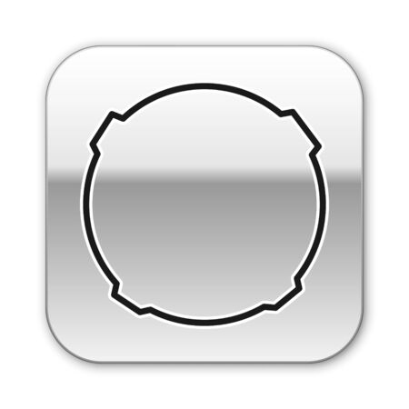 Black line Moon icon isolated on white background. Silver square button. Vector Illustration