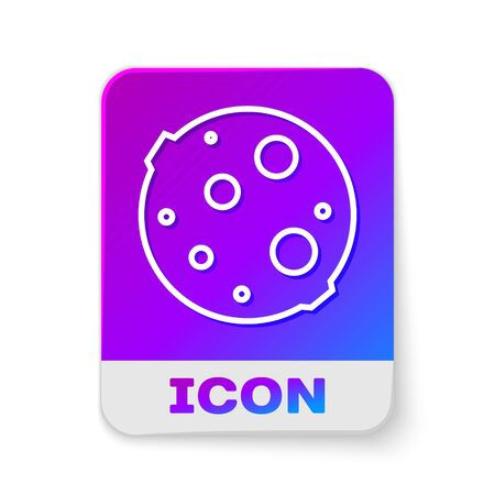 White line Moon icon isolated on white background. Rectangle color button. Vector Illustration
