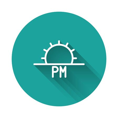 White line Sunset icon isolated with long shadow. Green circle button. Vector Illustration