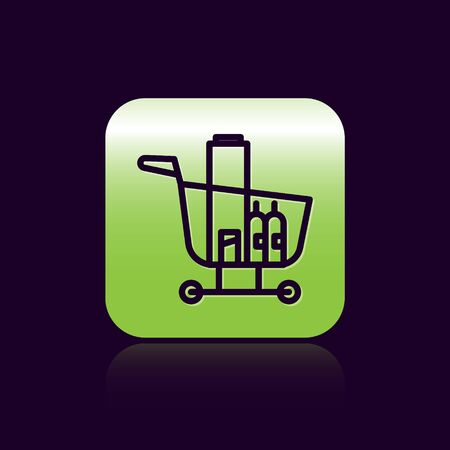 Black line Shopping cart and food icon isolated on black background. Food store, supermarket. Green square button. Vector Illustration