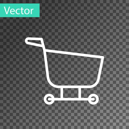 White line Shopping cart icon isolated on transparent background. Food store, supermarket. Vector Illustration