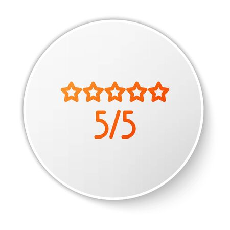 Orange line Consumer or customer product rating icon isolated on white background. White circle button. Vector Illustration