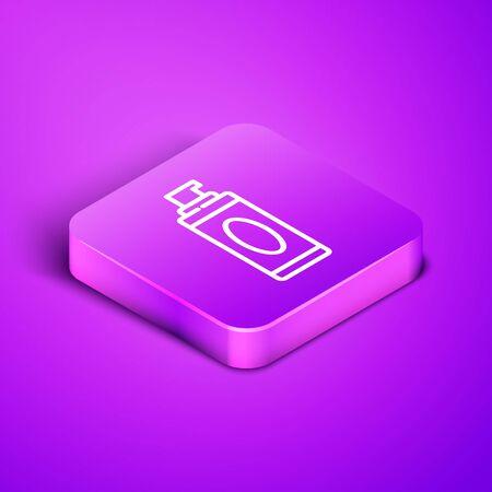Isometric line Shaving gel foam icon isolated on purple background. Shaving cream. Purple square button. Vector Illustration
