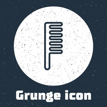 Grunge line Hairbrush icon isolated on grey background. Comb hair sign. Barber symbol. Monochrome vintage drawing. Vector Illustration