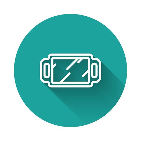 White line Hand mirror icon isolated with long shadow. Green circle button. Vector Illustration