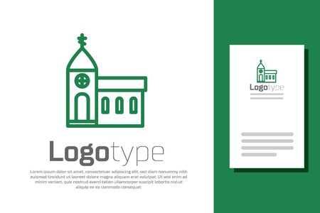 Green line Church building icon isolated on white background. Christian Church. Religion of church. Illustration