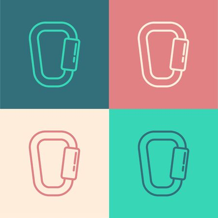 Pop art line Carabiner icon isolated on color background. Extreme sport. Sport equipment. Vector Illustration