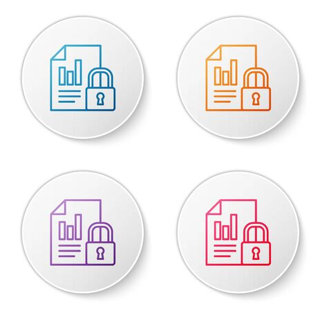 Color line Document and lock icon isolated on white background. File format and padlock. Security, safety, protection concept. Set icons in circle buttons. Vector Illustration