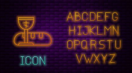 Glowing neon line First communion symbols for a nice invitation icon isolated on brick wall background. Neon light alphabet. Vector Illustration