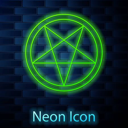 Glowing neon line Pentagram in a circle icon isolated on brick wall background. Magic occult star symbol. Vector Illustration