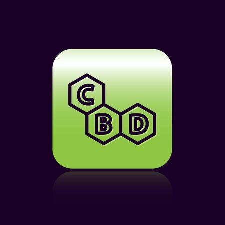 Black line Cannabis molecule icon isolated on black background. Cannabidiol molecular structures, THC and CBD formula. Marijuana sign. Green square button. Vector Illustration