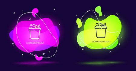 Line Bucket with soap suds icon isolated on black background. Bowl with water. Washing clothes, cleaning equipment. Abstract banner with liquid shapes. Vector Illustration