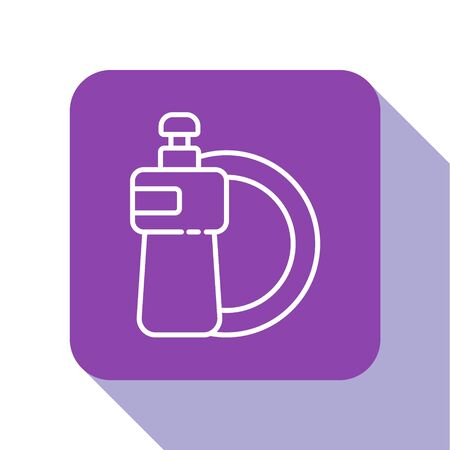 White line Dishwashing liquid bottle and plate icon isolated on white background. Liquid detergent for washing dishes. Purple square button. Vector Illustration
