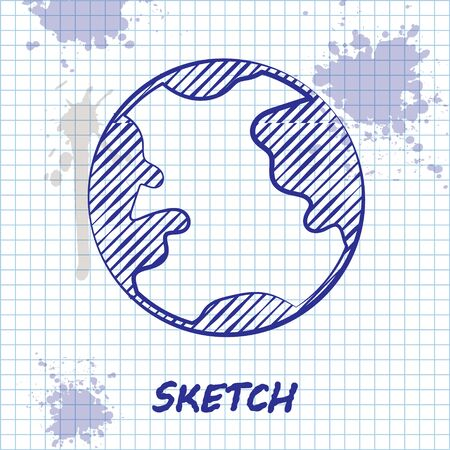 Sketch line Earth globe icon isolated on white background. World or Earth sign. Global internet symbol. Geometric shapes. Vector Illustration Çizim