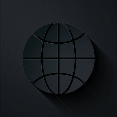 Paper cut Worldwide icon isolated on black background. Pin on globe. Paper art style. Vector Illustration