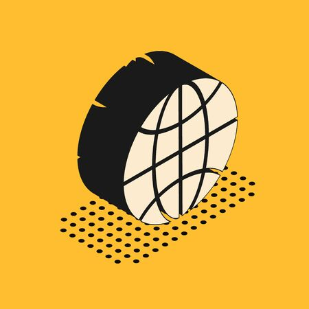 Isometric Worldwide icon isolated on yellow background. Pin on globe. Vector Illustration
