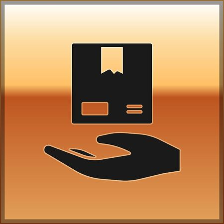 Black Delivery hand with cardboard boxes icon isolated on gold background. Door to door delivery by courier. Vector Illustration Иллюстрация