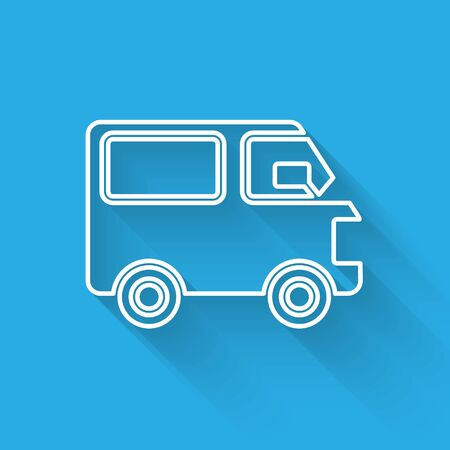 White line Delivery cargo truck vehicle icon isolated with long shadow. Vector Illustration