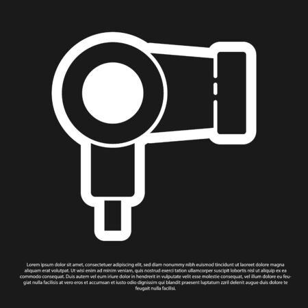 Black Hair dryer icon isolated on black background. Hairdryer sign. Hair drying symbol. Blowing hot air. Vector Illustration