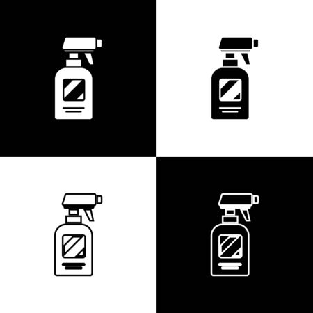 Set Hairdresser pistol spray bottle with water icon isolated on black and white background. Vector Illustration Ilustracja