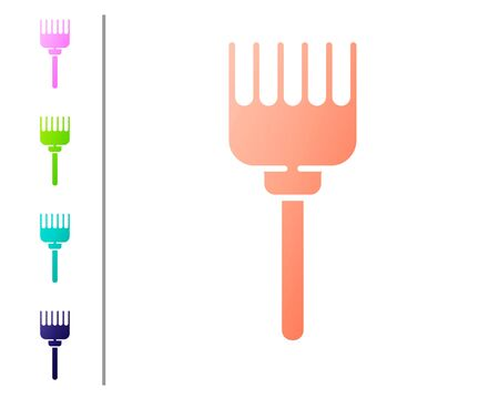 Coral Hairbrush icon isolated on white background. Comb hair sign. Barber symbol. Set color icons. Vector Illustration Ilustracja