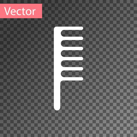 White Hairbrush icon isolated on transparent background. Comb hair sign. Barber symbol. Vector Illustration Ilustracja
